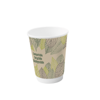 Double walled PLA cardboard cup 230ml 80mm  H110mm