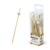 "Nature's Party: ""Bijou"" bamboo pick with white pearl"