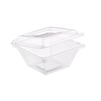 """""""Zeno"""" transparent square PET cup with hinged lid  250ml 105x105mm H55mm"""
