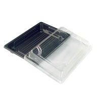 Black PET sushi tray with clear lid  250ml 168x118mm H37mm