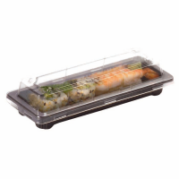 Black PET sushi tray with clear lid   178x71mm