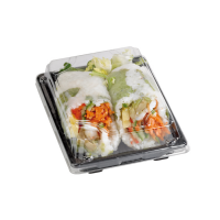 """Suky"" black PET sushi tray with clear lid  220x140mm H40mm"