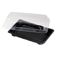 """Suky"" black PET sushi tray with clear lid  170x120mm H40mm"