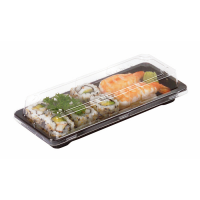 Black PET sushi tray with clear lid   178x122mm