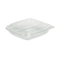 Square transparent PET salad bowl with lid  750ml 190x190mm H45mm