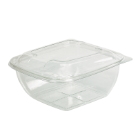 Square transparent PET salad bowl with lid  1 500ml 190x190mm H80mm