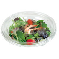 Round transparent PET salad bowl with lid 750ml Ø225mm  H50mm