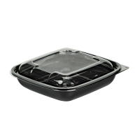 Square black PET salad bowl with transparent lid 750ml 190x190mm H45mm