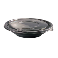 Round black PET salad bowl with transparent lid 750ml Ø230mm  H30mm