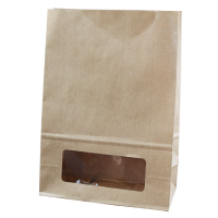 Kraft/brown paper bloomer bag with window  150x75mm H220mm