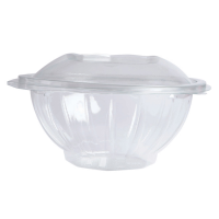 Round transparent PET salad bowl with hinged lid 750ml Ø168mm  H97mm