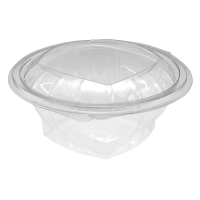 Round transparent PET salad bowl with hinged lid 500ml Ø135mm  H56mm