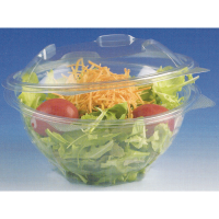 Round transparent PET salad bowl with hinged lid 250ml Ø120mm  H72mm