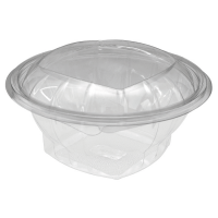 Round transparent PET salad bowl with hinged lid 1000ml Ø165mm  H65mm