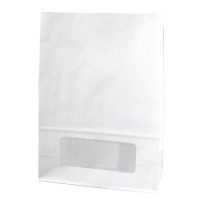 White paper bloomer bag with window  150x75mm H220mm