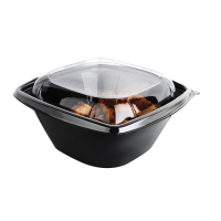 Saladeschaal PET zwart vierkant met deksel 750ml 190x190mm H65mm