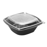 Square black PET salad bowl with transparent lid 1 000ml 190x190mm H75mm