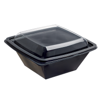 Square black PET salad bowl  750ml 160x160mm H70mm
