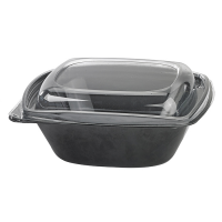 Square black PET salad bowl with transparent lid 1 000ml 190x190mm H65mm