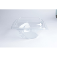 Square transparent PET twirl salad bowl  1 000ml 200x200mm H80mm