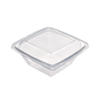 Square transparent RPET salad bowl  1 000ml 195x195mm H70mm