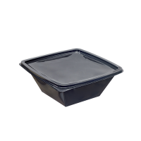 Square black PET salad bowl  1 000ml 195x195mm H70mm