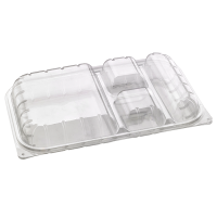 Clear PET lunch box with 4 compartments 0ml   H50mm