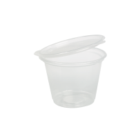 Clear round PP plastic portion cup with hinged lid 70ml Ø65mm  H47mm