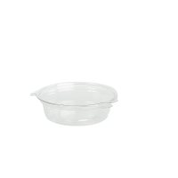 Clear round PET plastic portion cup with hinged lid 45ml Ø65mm  H29mm