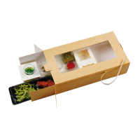 """Plumier"" Kraft/Brown large box with window and insert  340x180mm H90mm"