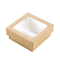 """Brown square """"Kray"""" cardboard box with window lid 350ml 115x115mm H40mm"""