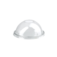 Clear PET plastic dome lid with straw slot  Ø84mm  H38mm