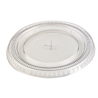 Clear PET plastic flat lid with straw slot  Ø98mm  H10mm