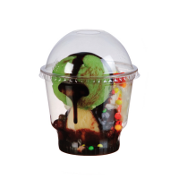 Clear PET plastic dome lid with straw slot  Ø98mm  H45mm