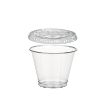 """Clear PET plastic """"Smoothie"""" cup with dome lid with hole 230ml 78mm  H88mm"""