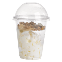 Clear PET plastic cup with dome lid with hole 360ml 95mm  H84mm