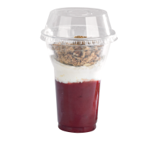 """Clear PET plastic """"Smoothie"""" cup with dome lid with straw slot 450ml Ø95mm  H127mm"""