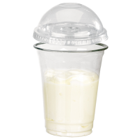 """Clear PET plastic """"Smoothie"""" cup with dome lid with straw slot 360ml Ø92mm  H109mm"""