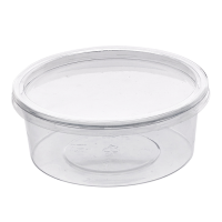 Round transparent PET Deli container with flat lid 125ml 100mm  H38mm