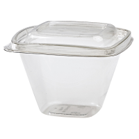 Square transparent PET deli container with lid  500ml 128x128mm H85mm