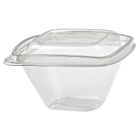 Pot Deli carré PET transparent avec couvercle