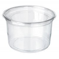 Round transparent PET Deli container with flat lid 350ml Ø117mm  H60mm