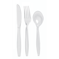 """Majesty"" transparent PS cutlery kit 6/1: knife fork spoon napkin salt pepper, transparent wrap  192x50mm"