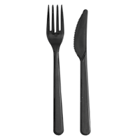 """Lux"" black PS plastic cutlery kit 2/1: knife fork, transparent wrap  180"