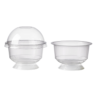 Clear round PP plastic stemmed dessert cup with dome lid 170ml Ø94mm  H56mm