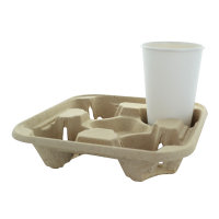 Fibre cup holder for 4 cups  220x220mm H40mm