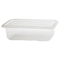 Clear rectangular PP plastic microweavable box with hinged lid 750ml 190x130mm H55mm
