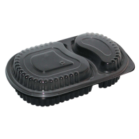 Black PP plastic 2-compartments meal box 750ml   H40mm