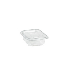 Rectangular clear PET box with hinged lid 250ml   H45mm