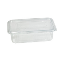 Rectangular clear PET box with hinged lid 2000ml 230x175mm H90mm
